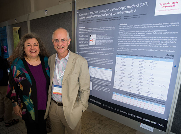Julian and Cathrine at Pevoc 10 (Pan-European Voice Conference), in Prague, Czeck Republic, August, 2013, infront of their poster 'Can singing teachers trained in a pedagogic method (Complete Vocal Technique) reliably identify elements of sung sound examples?' Photo: Henrik Kjelin